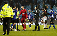 Bolton Wanderers' manager Phil Parkinson speaks with referee Gavin Ward after the match<br /> <br /> Photographer Andrew Kearns/CameraSport<br /> <br /> The EFL Sky Bet Championship - Sheffield Wednesday v Bolton Wanderers - Tuesday 27th November 2018 - Hillsborough - Sheffield<br /> <br /> World Copyright © 2018 CameraSport. All rights reserved. 43 Linden Ave. Countesthorpe. Leicester. England. LE8 5PG - Tel: +44 (0) 116 277 4147 - admin@camerasport.com - www.camerasport.com