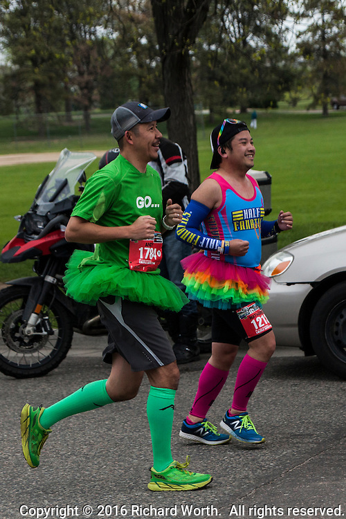 Two half marathoners wearing tutus for this year's event.