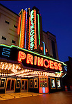 The Princess Theater was a silent film and vaudeville playhouse when it opened in 1919.  It was restored in 1941 with a brillantly lite art deco neon marquee and purchased by the city of Decatur as a venue for the performing arts.  It is listed on the National Register of Historic Places.