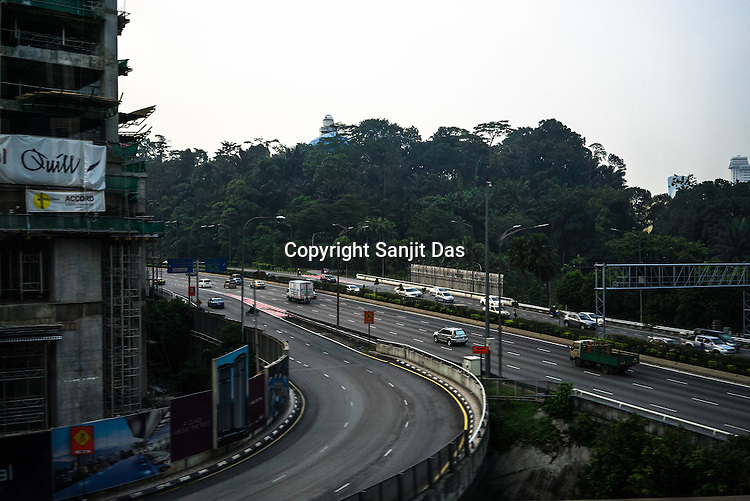 Construction site along the highway in Kuala Lumpur, Malaysia.