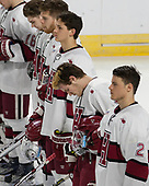 Nathan Krusko (Harvard - 13), Sean Malone (Harvard - 17), John Marino (Harvard - 12), Adam Fox (Harvard - 18), Tyler Moy (Harvard - 2) - The Harvard University Crimson defeated the Air Force Academy Falcons 3-2 in the NCAA East Regional final on Saturday, March 25, 2017, at the Dunkin' Donuts Center in Providence, Rhode Island.