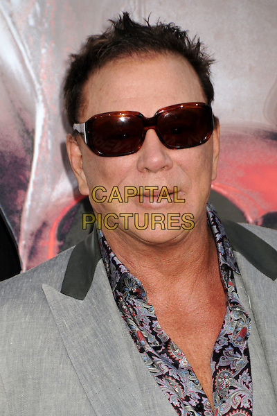 """MICKEY ROURKE .""""The Expendables"""" Los Angeles Premiere held at Grauman's Chinese Theatre, Hollywood, California, USA, .3rd August 2010..portrait headshot  print shirt paisley grey gray sunglasses .CAP/ADM/BP.©Byron Purvis/AdMedia/Capital Pictures."""
