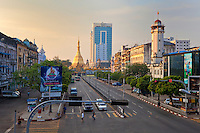 Myanmar, Burma, Yangon.  Sule Pagoda Road, Early Morning.