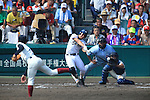 (L-R) Kosuke Fukushima (Osaka Toin), Ryuya Inaba (Mie), Yuya Yokoi (Osaka Toin),<br /> AUGUST 25, 2014 - Baseball :<br /> 96th National High School Baseball Championship Tournament final game between Mie 3-4 Osaka Toin at Koshien Stadium in Hyogo, Japan. (Photo by Katsuro Okazawa/AFLO)7() vs