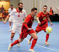 20200201 Herentals , BELGIUM :  Belgium's Steven Dillien (7) with the ball during a futsal indoor soccer game between the Belgian Futsal Devils of Belgium and Montenegro on the third and last matchday in group B of the UEFA Futsal Euro 2022 Qualifying or preliminary round , Saturday 1st February 2020 at the Sport Vlaanderen sports hall in Herentals , Belgium . PHOTO SPORTPIX.BE | Sevil Oktem