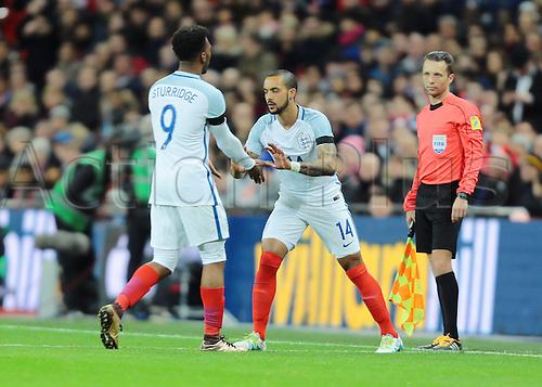 29.03.2016. Wembley Stadium, London, England.  International Football Friendly England versus Netherlands. England Forward Theo Walcott replaces England Forward Daniel Sturridge