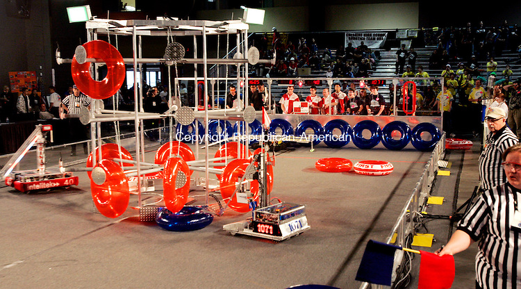 HARTFORD, CT. 16 March 2007--16_NEW_031607SV12--Robotic teams compete during a match at the United Technologies Connecticut Regional 2007 First Robotics Competition at the Connecticut Convention Center in Hartford Friday.<br /> Steven Valenti Republican-American