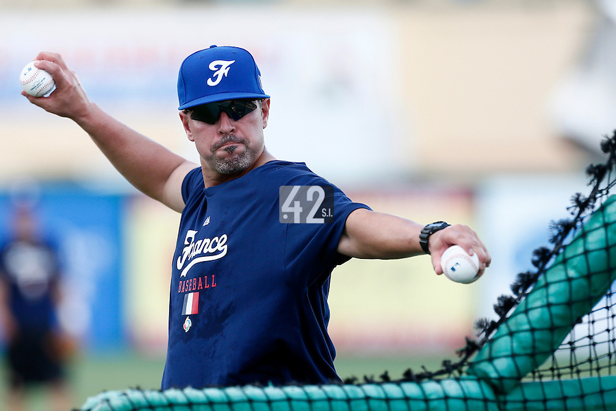 18 September 2012: Sammy Serrano throws for the batting practice during Team France practice, at the 2012 World Baseball Classic Qualifier round, in Jupiter, Florida, USA.