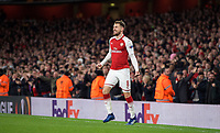 Aaron Ramsey of Arsenal celebrates scoring his second goal during the UEFA Europa League QF 1st leg match between Arsenal and CSKA Moscow  at the Emirates Stadium, London, England on 5 April 2018. Photo by Andrew Aleksiejczuk / PRiME Media Images.