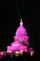 Texas State Capitol floodlit Pink, Vertical photo, Austin, Texas, USA