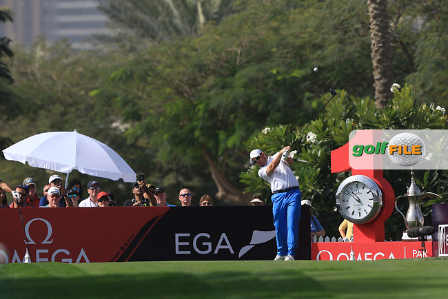 Richie Ramsay (SCO) on the 1st tee during Round 4 of the Omega Dubai Desert Classic, Emirates Golf Club, Dubai,  United Arab Emirates. 27/01/2019<br /> Picture: Golffile | Thos Caffrey<br /> <br /> <br /> All photo usage must carry mandatory copyright credit (&copy; Golffile | Thos Caffrey)