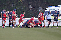 Jersey Reds score an early try during the Greene King IPA Championship match between London Scottish Football Club and Jersey at Richmond Athletic Ground, Richmond, United Kingdom on 18 February 2017. Photo by David Horn / PRiME Media Images.