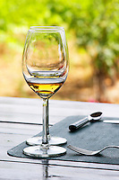 Domaine Vaquer. Domaine de Nidoleres. Roussillon. France. Europe. Wine glass.