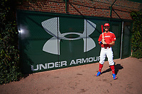 Bobby Witt, Jr. (15) of Colleyville Heritage High School in Colleyville, Texas poses for a photo before the Under Armour All-American Game presented by Baseball Factory on July 29, 2017 at Wrigley Field in Chicago, Illinois.  (Mike Janes/Four Seam Images)