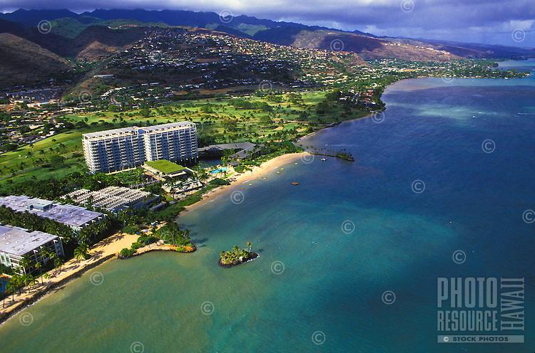 Aerial of the Kahala Mandarin Oriental hotel along the Kahala area coastline, Island of Oahu