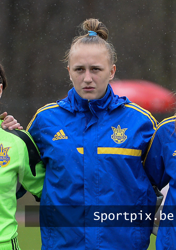 20150404 - FORST , GERMANY  : Ukrainian Veronika Andrukhiv pictured during the soccer match between Women Under 19 teams of Belgium and Ukraine , on the first matchday in group 5 of the UEFA Elite Round Women Under 19 at WaldseeStadion , Forst , Germany . Saturday 4th April 2015 . PHOTO DAVID CATRY