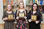 March 6, 2017- Tuscola, IL- The 2016-2107 Tuscola Warrior Cheerleading award recipients. From left are Julia Kerkhoff (Most Improved), Miah Holmes (Leadership), and Hannah Saril (Most Spirit). [Photo: Douglas Cottle]