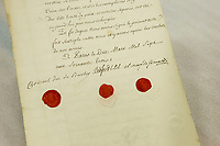 Signature and seals of John Russell, 4th Duke of Bedford (Great Britain),  Cesar Gabriel de Choiseul, Duke of Praslin (France), Jeronimo Grimaldi, 1st Duke of Grimaldi (Spain) on the Traite de Paris de 1763 (Treaty of Paris of 1763) before an exhibition in Quebec City, septembre 22 2014. The Treaty of Paris, also known as the Treaty of 1763, was signed on 10 February 1763 by the kingdoms of Great Britain, France and Spain, with Portugal in agreement, after Britain's victory over France and Spain during the Seven Years' War.<br /> <br /> PHOTO :  Francis Vachon - Agence Quebec Presse