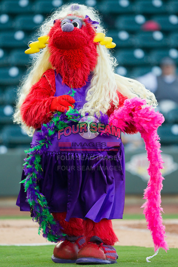 """Winston-Salem Dash mascot """"Bolt"""" entertains the crowd between innings of the Carolina League game against the Salem Red Sox at BB&T Ballpark on August 15, 2013 in Winston-Salem, North Carolina.  The Red Sox defeated the Dash 2-1.  (Brian Westerholt/Four Seam Images)"""