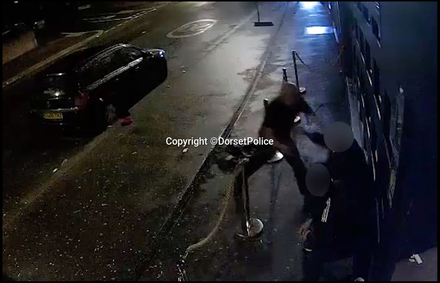 BNPS.co.uk (01202 558833)Pic: DorsetPolice/BNPS<br /> <br /> A screenshot of CCTV footage showing Kevin Boyle start an altercation with two bouncers at the Camel Club, in Bournemouth at around 4:15am on Friday 18th August 2017.<br /> <br /> A knife maniac who nearly killed an innocent bystander he mistook for someone he had a row with because both men had ginger hair was today jailed for 21 years.<br /> <br /> Kevin Boyle waited outside a Bournemouth nightclub for the red-headed reveller who had shoved him two hours earlier to appear.<br /> <br /> When clubber Glen Morrant walked out Boyle began to follow him by mistake because he was wearing similar clothes to the first man and also had ginger hair.<br /> <br /> Boyle slashed the 19-year-old by the throat. He was sentenced today at Winchester Crown Court.