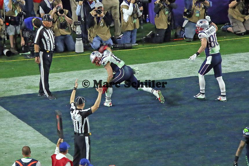 Touchdown Julian Edelman (11, Patriots) zum 28:24 - Super Bowl XLIX, Seattle Seahawks vs. New England Patriots, University of Phoenix Stadium, Phoenix