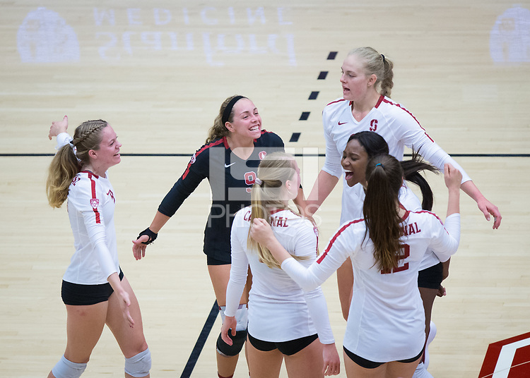 STANFORD, CA - October 12, 2018: Morgan Hentz, Meghan McClure, Kathryn Plummer, Tami Alade, Jenna Gray, Audriana Fitzmorris at Maples Pavilion. No. 2 Stanford Cardinal swept No. 21 Washington State Cougars, 25-15, 30-28, 25-12.