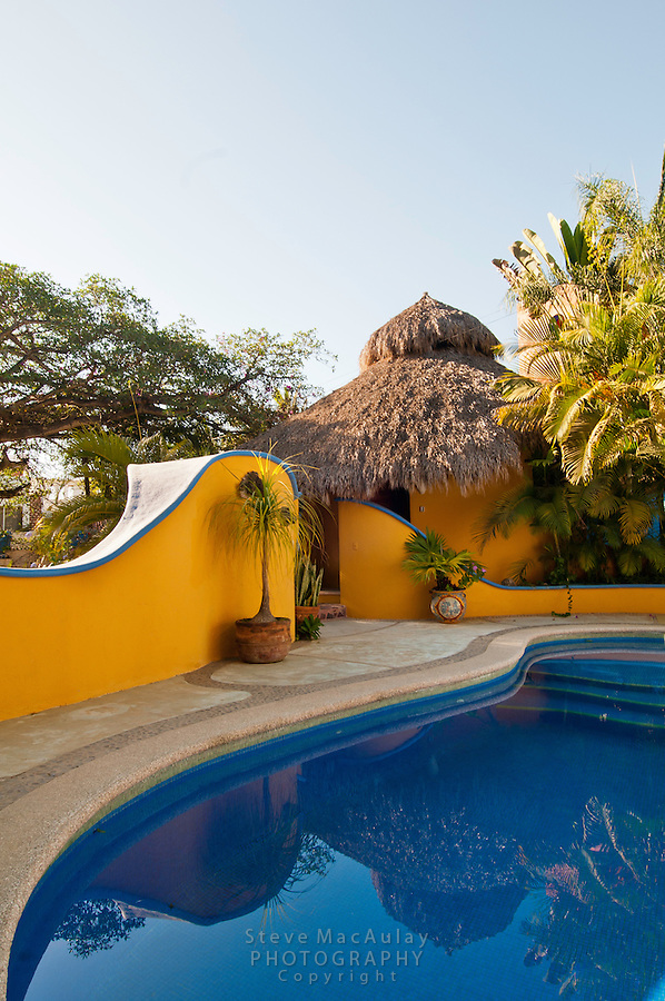 Colorful Palapa bungalow and pool, Sayulita, Mexico