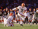 Cleveland Browns Matt Bahr (9) during a game from his 1988 season with the Browns. Matt Bahr played for 19 years with 6 different team and played on 3 Super Bowl winning teams.<br /> (SportPics)