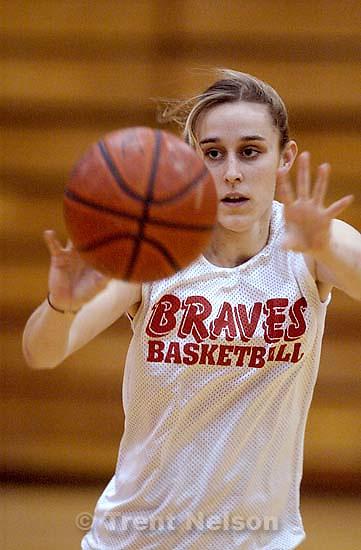 Bountiful girls high school basketball player Rebecca Schmidt (white shirt).<br />