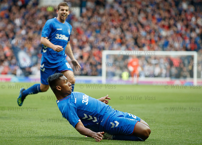 09.08.18 Rangers v Maribor: Alfredo Morelos slides and celebrates