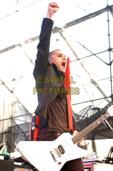 30 SECONDS TO MARS - JARED LETO.Performs at Chevrolet Amphitheatre, Pittsburgh, Pennsylvania..May 27th, 2005.Photo Credit. Laura Farr/AdMedia.half length stage live gig concert performance guitar.www.capitalpictures.com.sales@capitalpictures.com.© Capital Pictures.