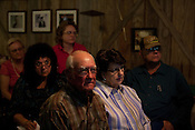 PANNA MARIA, TX - SEPTEMBER 23, 2013: Residents from Karnes County and surrounding areas attend a public presentation by Sharon Wilson and Wilma Subra of Earthworks, that details their findings of fracking emissions in the Eagle Ford shale. CREDIT: Lance Rosenfield/Prime