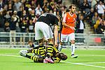 Stockholm 2015-07-16 Fotboll Kval Uefa Europa League  AIK - FC Shirak :  <br /> AIK:s Henok Goitom har ont efter att ha blivit f&auml;lld utanf&ouml;r straffomr&aring;det under matchen mellan AIK och FC Shirak <br /> (Foto: Kenta J&ouml;nsson) Nyckelord:  AIK Gnaget Tele2 Arena UEFA Europa League Kval Kvalmatch FC Shirak Armenien Armenia skada skadan ont sm&auml;rta injury pain
