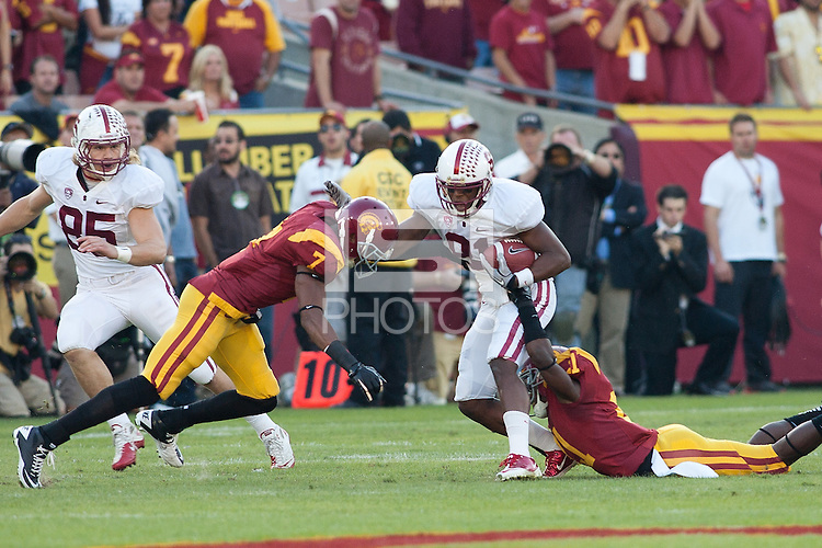 LOS ANGELES, CA-OCTOBER 29,2011- Stanford defeated USC 56-48. Chris Owusu (81) rushes with the ball during play against USC at the L.A. Coliseum in Los Angeles, CA.