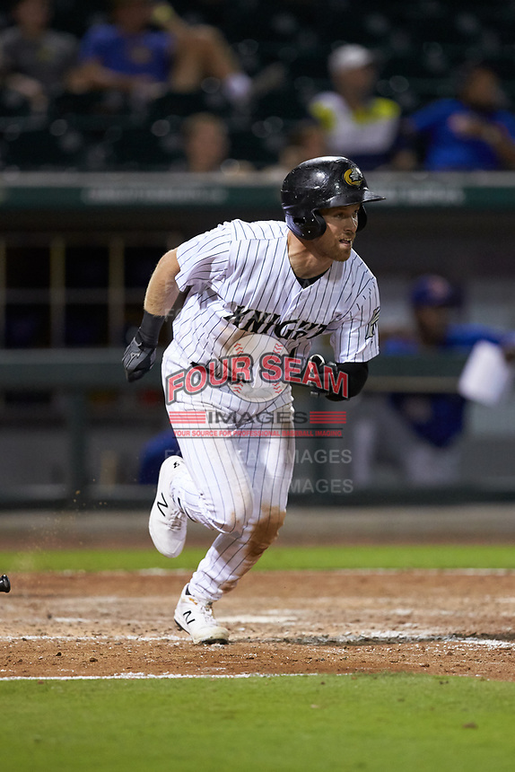 Charlie Tilson (1) of the Charlotte Knights starts down the first base line against the Durham Bulls at BB&T BallPark on July 31, 2019 in Charlotte, North Carolina. The Knights defeated the Bulls 9-6. (Brian Westerholt/Four Seam Images)