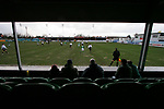 Rhyl 3 Aberystwyth Town 0, 13/01/20007. Belle Vue, Welsh Premier League. The home team's fans watch their favourites as Rhyl take on Aberystwyth Town (green) in a Welsh Premier League match at Belle Vue, Rhyl. The home team won the game by 3 goals to nil, with all the goals coming in a wind-assisted second half. The victory took the north coast club to the top of the league. Photo by Colin McPherson.