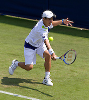 Kei Nishikori (JPN) against Andrey Kuznetsova (RUS) in the first round of the men's singles. Andrey Kuznetsova beat Kei Nishikori after Nishikori retired..International Tennis - 2010 ATP World Tour - AEGON International - Devonshire Park Lawn Tennis Centre - Eastbourne - Day 1 - Mon 14 Jun 2010..© FREY - AMN Images, 1st Floor, 20-22 Worple Road, London, SW19 4DH.phone - +44 (0) 20 8947 0100.Email - mfrey@advantagemedianet.com.www.advantagemedianet.com.