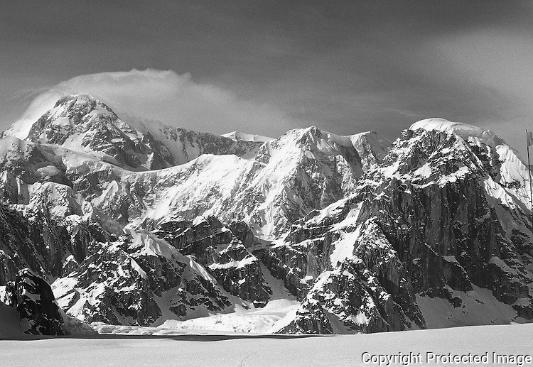 Denali and Mount Dan Beard from the Ruth Glacier, Alaska Range.