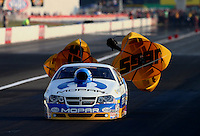 Aug. 30, 2013; Clermont, IN, USA: NHRA pro stock driver Allen Johnson during qualifying for the US Nationals at Lucas Oil Raceway. Mandatory Credit: Mark J. Rebilas-