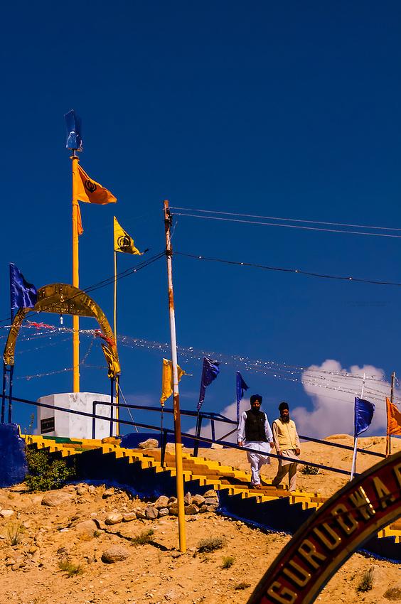 Gurdwara Pathar Sahib, the Gurdwara was built in 1517 to commemorate the visit to the Ladakh region of Guru Nanak Dev, the founder Guru of the Sikh faith. Ladakh, Jammu and Kashmir State, India.