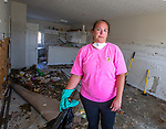 MEXICO BEACH, FL 0CT 18:  Erin Crawson, 38 years old, inside her townhouse in Mexico Beach, Florida after Hurricane Michael October 18, 2018.