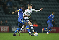 Preston North End's Paul Gallagher in action with Leeds United's Caleb Ekuban<br /> <br /> Photographer Mick Walker/CameraSport<br /> <br /> The EFL Sky Bet Championship - Preston North End v Leeds United - Tuesday 10th April 2018 - Deepdale Stadium - Preston<br /> <br /> World Copyright &copy; 2018 CameraSport. All rights reserved. 43 Linden Ave. Countesthorpe. Leicester. England. LE8 5PG - Tel: +44 (0) 116 277 4147 - admin@camerasport.com - www.camerasport.com