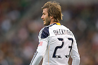 LA Galaxy midfielder David Beckham waits patiently for the refs whistle. The LA Galaxy defeated FC Dallas 2-1 at Home Depot Center stadium in Carson, California on Sunday October 24, 2010.