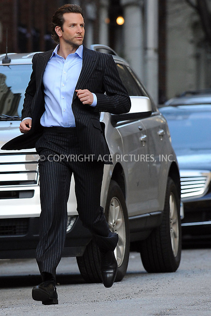 WWW.ACEPIXS.COM . . . . . ....April 1 2010, New York City....Actor Bradley Cooper on the set of the new movie 'The Dark Fields in Manhattan on April 1 2010 in New York City....Please byline: KRISTIN CALLAHAN - ACEPIXS.COM.. . . . . . ..Ace Pictures, Inc:  ..(212) 243-8787 or (646) 679 0430..e-mail: picturedesk@acepixs.com..web: http://www.acepixs.com