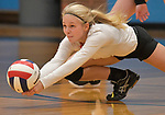 Edwardsville's Kaitlyn Conway digs for an O'Fallon serve. O'Fallon defeated Edwardsville in a Class 4A volleyball sectional semifinal game on Monday October 29, 2018 at Belleville East HS. <br /> Tim Vizer/Special to STLhighschoolsports.com