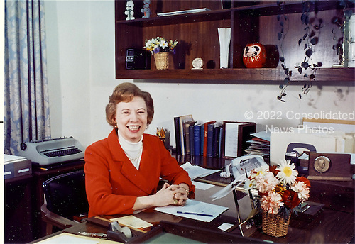 Portrait of Rosemary Woods taken at her desk at the White House in Washington, D.C. on April 14, 1969.  At the time, Ms. Woods was the personal secretary to United States President Richard M. Nixon.  She was most remembered for the infamous 18 1/2 minute gap in one of the Nixon tape recordings that was crucial to the Watergate investigation that led to Nixon's resignation.  Ms. Woods passed away on January 24, 2005 at age 87 in an Ohio nursing home..Credit: White House via CNP