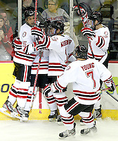 Nebraska-Omaha's Jayson Megna (11) is joined by teammates Brent Gwidt (25), Zahn Raubenheimer (13), Michael Young (7) and Andrej Sustr (3) after scoring. Nebraska-Omaha defeated Colorado College 7-5 Friday night at CenturyLink Center in Omaha. (Photo by Michelle Bishop) .