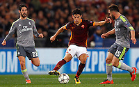 Calcio, andata degli ottavi di finale di Champions League: Roma vs Real Madrid. Roma, stadio Olimpico, 17 febbraio 2016.<br /> Roma's Diego Perotti, center, is challenged by Real Madrid's Isco, left, and Dani Carvajal, during the first leg round of 16 Champions League football match between Roma and Real Madrid, at Rome's Olympic stadium, 17 February 2016.<br /> UPDATE IMAGES PRESS/Riccardo De Luca