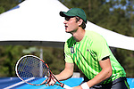 14 May 2016: Dartmouth's Dovydas Sakinis (LTU). The Tulane University Green Wave played the Dartmouth College Big Green at the Cone-Kenfield Tennis Center in Chapel Hill, North Carolina in a 2015-16 NCAA Division I Men's Tennis Tournament First Round match. Tulane won the match 4-0.