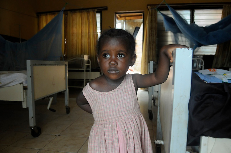 Young girl on a ward at the George Brook Community Health Centre, Freetown. Sierra Leone. Photo taken March 23, 2010.